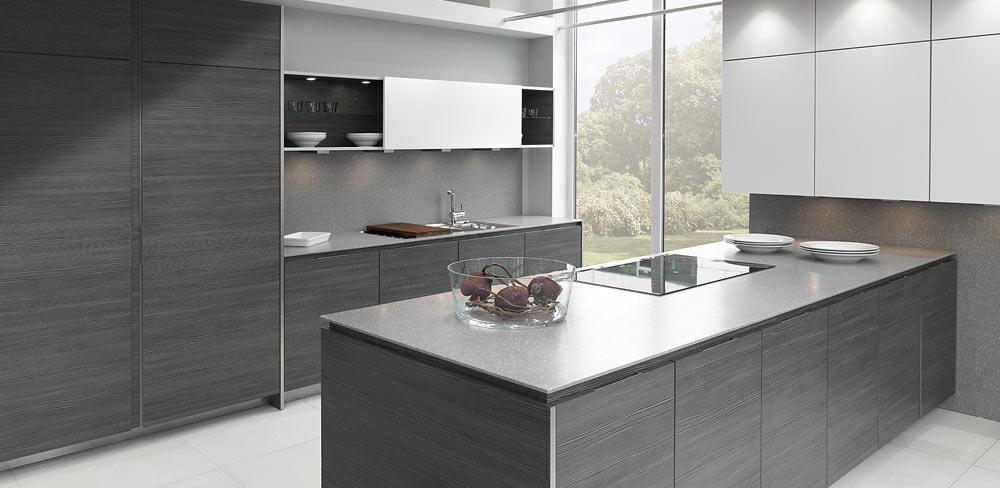 Designküche mit Struktur-Fronten