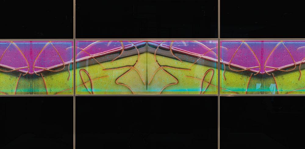 Detail Glaskunst als Küchenfront