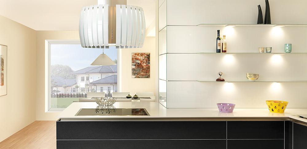 Detail Design Küche mit schwarzen Lederfronten