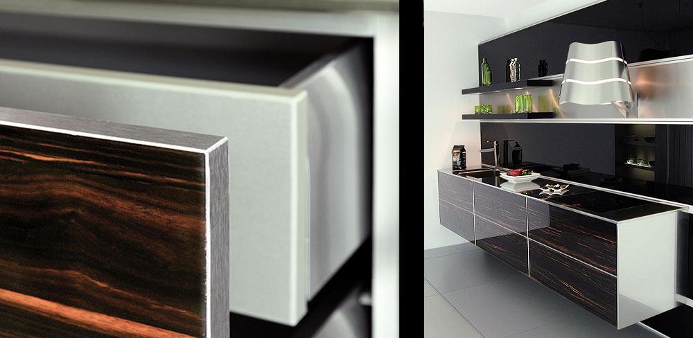 Details Designküche mit Holzfronten