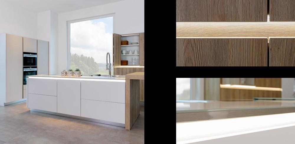 Details weiße Küche mit Holzdekorfront