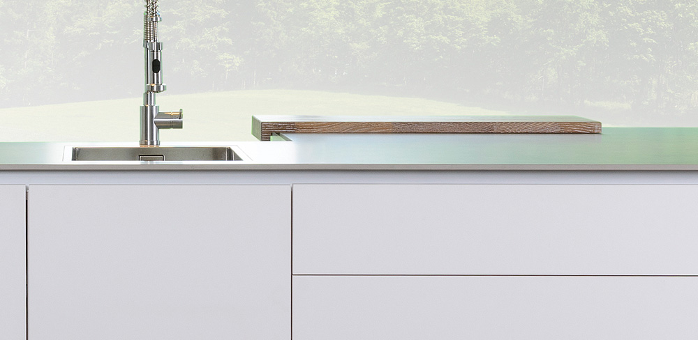 Detail weiße Designküche