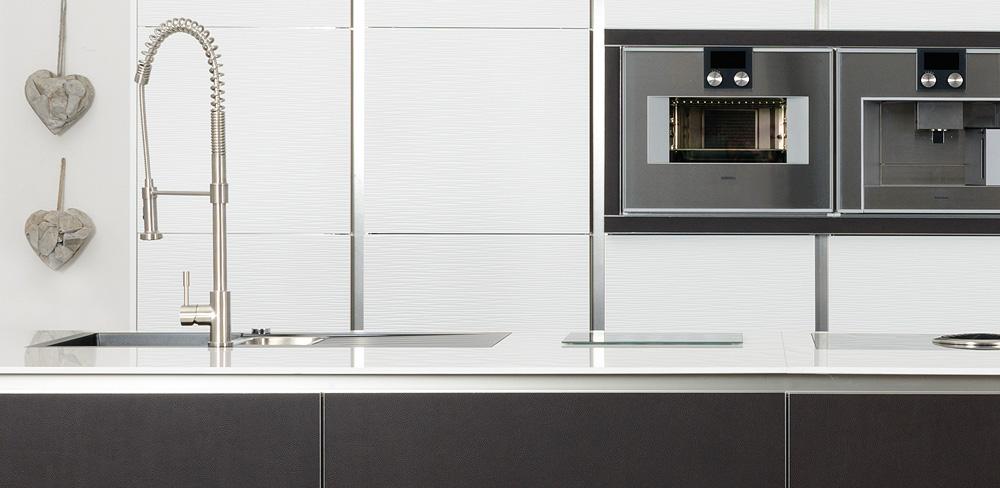 Detail Küche mit Lederfronten